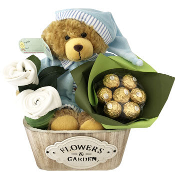 Baby Boy Basket Miki Bed Time Korimco Bear