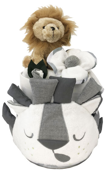 Baby Lion Safari Bubba Blue Hooded Towel Nappy Cake Set