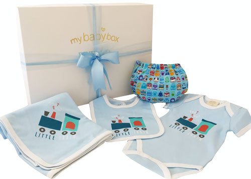 Baby Hamper Little Train Wrap, Bodysuit and Bib Set