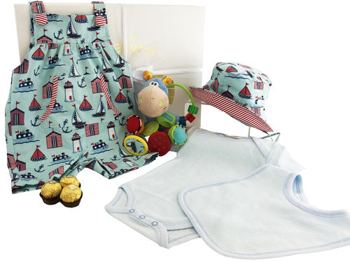 Baby Boy Nautical Overalls Hamper and clip clop rattle
