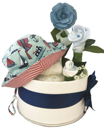 Nautical Summer Bucket Hat Nappy Cake