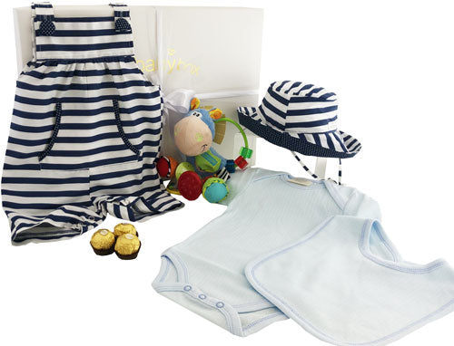 Baby Boy Navy Overalls Hamper and clip clop rattle