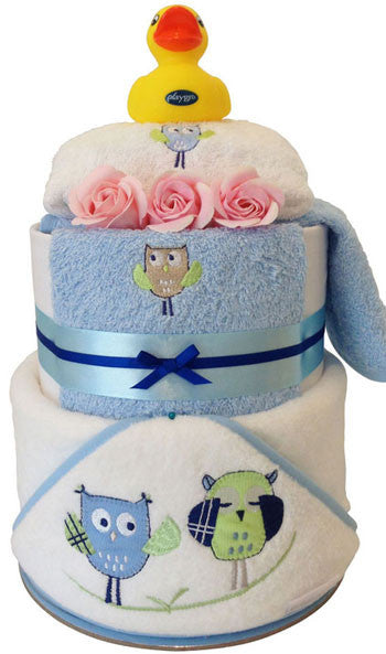 Nappy Cake Bath Time Peekaboo Owl Baby Boy Gift