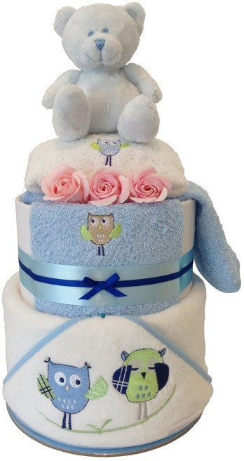 Nappy Cake Bath Time Ultimate Peekaboo Owl Bubba Blue