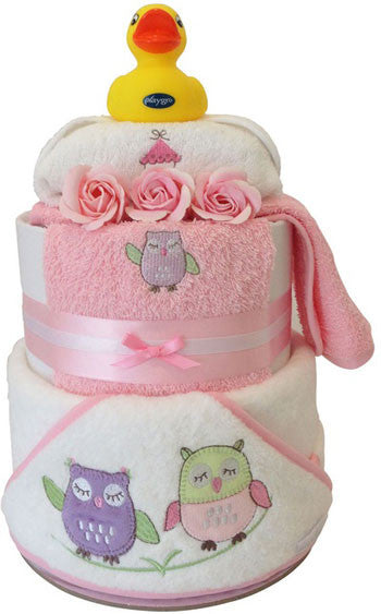 Nappy Cake Bath Time Deluxe Owl Baby Girl Gift