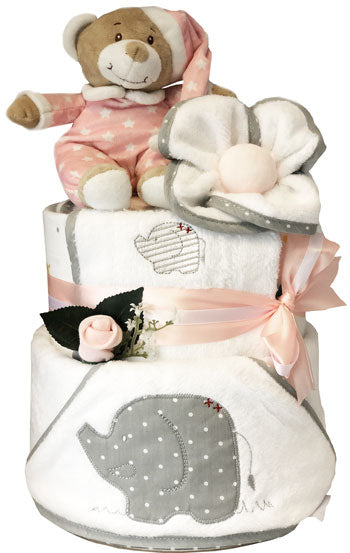 Bath Time Teddy Nappy Cake with Petite Elephant Design