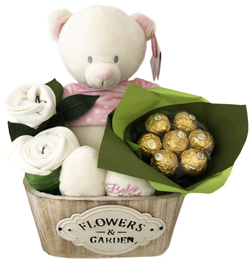 Pink Teddy Baby Girl Basket