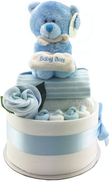My First Teddy Nappy Cake - Bubzee bear and baby clothing