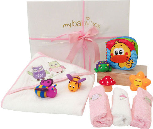 Bath Time Hamper - Bubba Blue Owl Girl Hooded Towel set and acqua buds