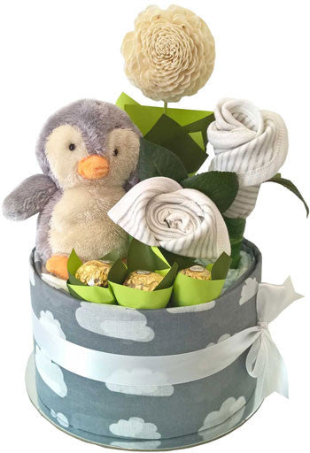 Baby Shower Gift Cake Plush Penguin Ferrero Rocher