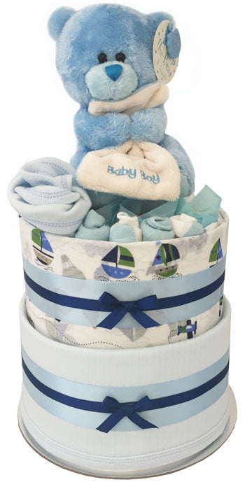 My First Teddy Nappy Cake - Bubzee bear, chocolates and baby clothing