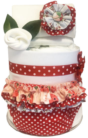 Nappy Cake Red Dot Ruffle Bloomers and Rosette Body Suit