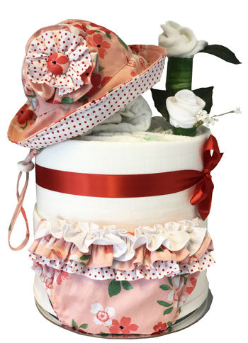 My First Wardrobe Cake - Limited Edition Red Bloom Sun Hat Set