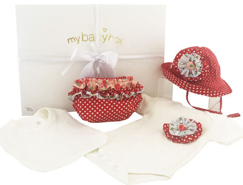 Baby Girl Personalised Hamper with red dot ruffle bloomers