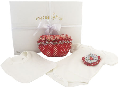 Baby Girl Hamper - Red Dot Bloomers and Bodysuit Set
