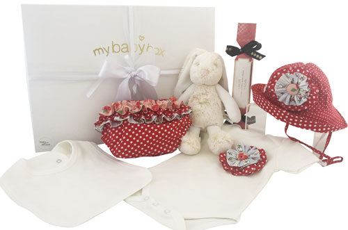 Baby Girl Personalised Hamper Bunny with red dot ruffle bloomers