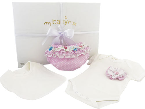 Baby Girl Hamper - Body Suit Bib and Bloomers