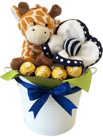 Baby Boy Basket - Pippins Giraffe, face washer and chocolates