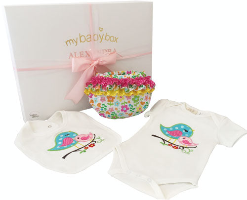 Baby Girl Hamper Bird Body suit, bib and ruffle bloomers
