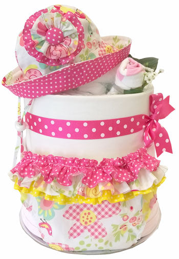 Spring Nappy Cake - Baby Ruffle Bloomers and Baby Sun Hat