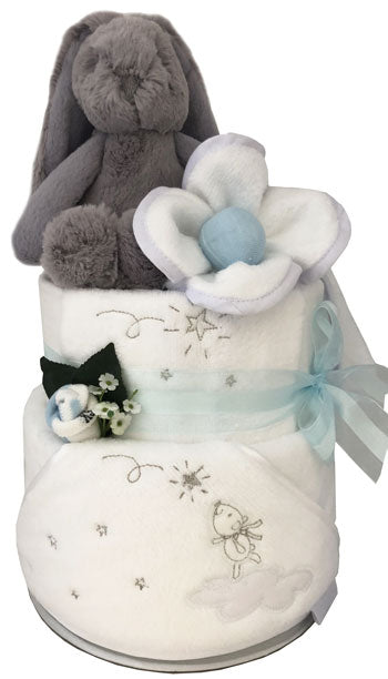 Starry Night Boy Hooded Towel Nappy Cake