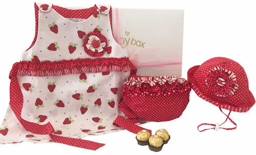 Baby Strawberry Dress Hamper Set