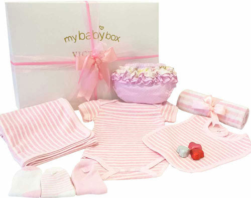 Baby Girl Clothing Hamper, Body suit, bib, blanket and ruffle bloomers
