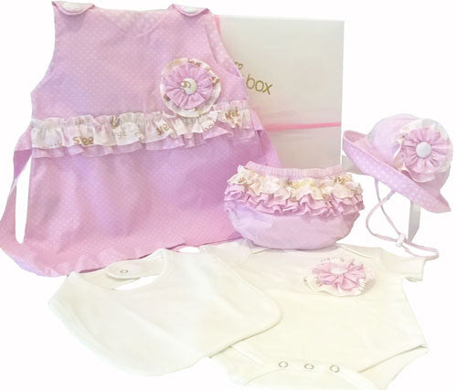 Baby Girl Clothing Hamper, Pink Dress Set