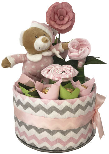 Twinkles Star Teddy Girl Nappy Cake