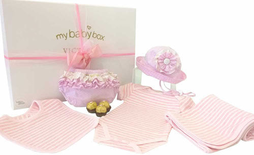 Baby Girl Hamper - Body suit, bib, ruffle bloomers, sun hat and socks