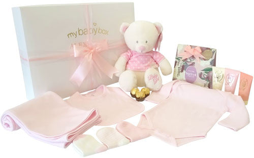 My First Teddy Baby Girl Hamper and MOR Pamper Set