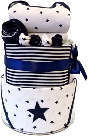 Nappy Cakes Baby Clothing Boy Navy Star