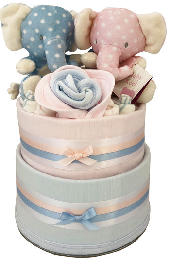 Twin Elephant Nappy Cake