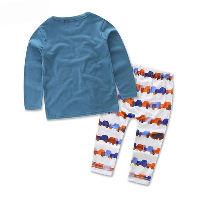 Boy Car Cartoon Long Sleeve Sleepwear Set