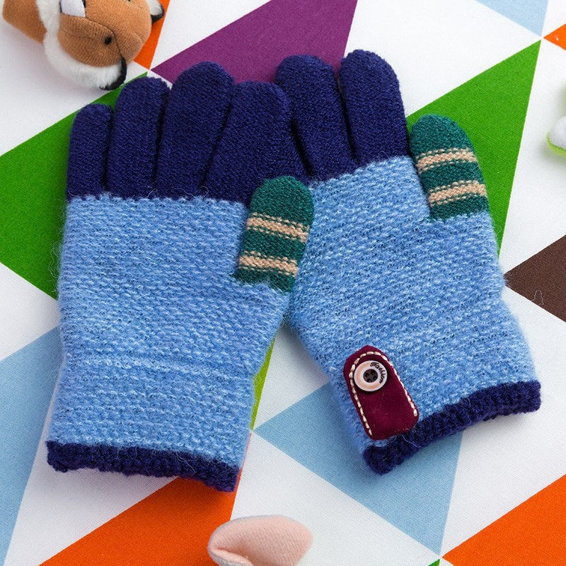 Colorful Patchwork Children Knitted Gloves Momeaz