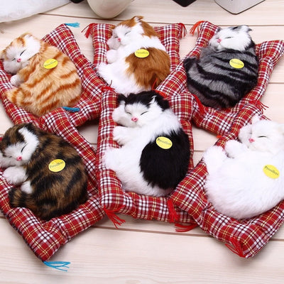 Sleeping Cat Animal Plush Toy with Sound