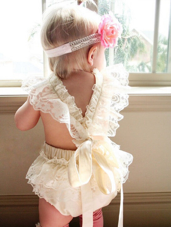 32f164f271fb Baby Girl White Lace Romper - Momeaz