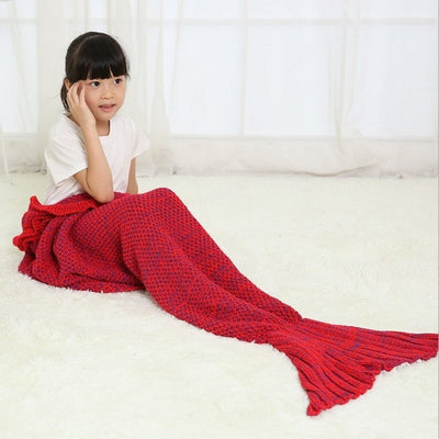 Children Mermaid Tail Blanket With Ruffles