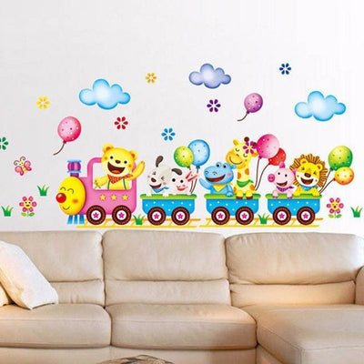 Wall Stickers Cute Animals Train  Kids Bedroom Decor