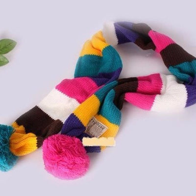 Colorful Striped Scarf With Pompom