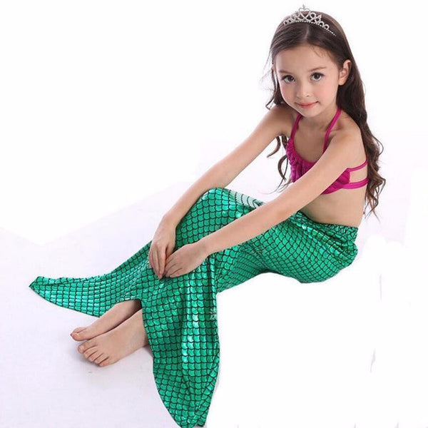 Girl Mermaid Tail Swimmable Bikini Set