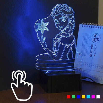 3D Lamp Elsa & Anna 7 color Touch Control