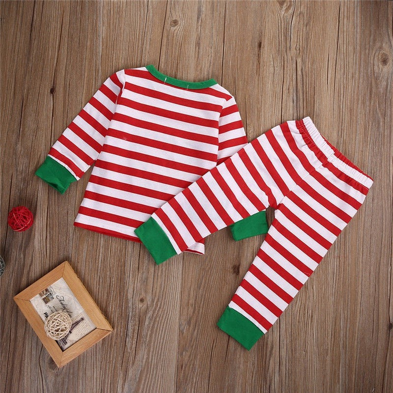 eef22a616 Toddler Christmas Striped Long Sleeve Pyjamas - Momeaz