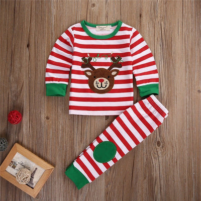Toddler Christmas Striped Long Sleeve Pyjamas