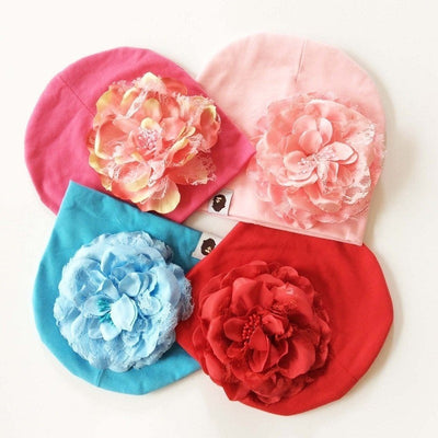 Cute Big Floral Baby Girl Hats