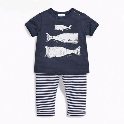 Baby Cotton Short Sleeve Clothing Set - Whales