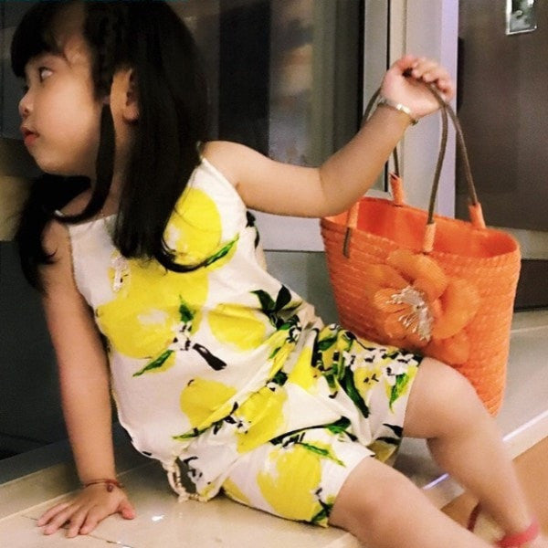 Clothing Sets Lemon Fruit Design Sleeveless T-shirt+ Shorts