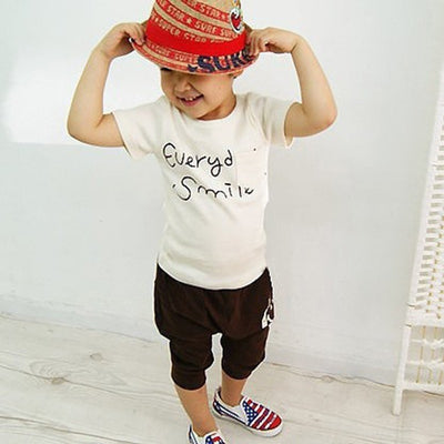 Smile Face T-shirts + Pants Kids Clothing Set
