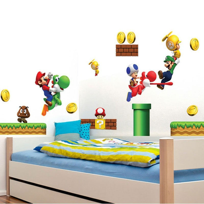 Super Mario Wall Stickers For Kids Rooms Momeaz