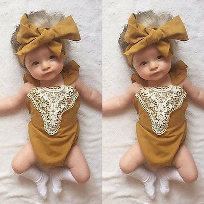 Baby Girl  One-pieces Lace Romper With Headband